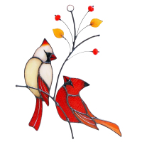Style 5-Cardinals Birds Stained Glass Ornament Hanging Layout Home Decor Wedding Room Decor