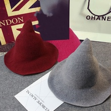 Halloween Party Witch Wizard Hats Solid Color Kinitted-Wool For Masquerade Cosplay CostumeCM