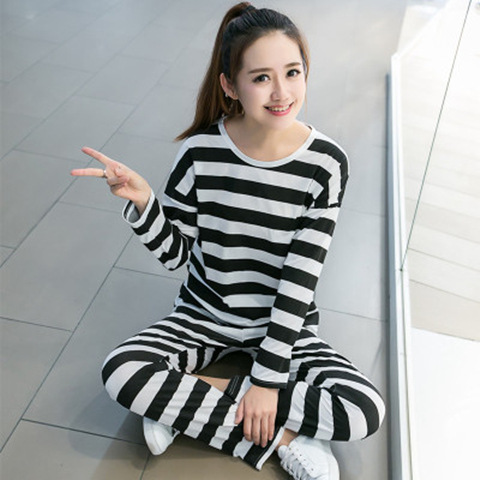 Long Sleeve Black And White Pink Striped Less Women's Autumn Qmilch Long Sleeve Trousers Pajamas Suit Cute Hipster Home Wear