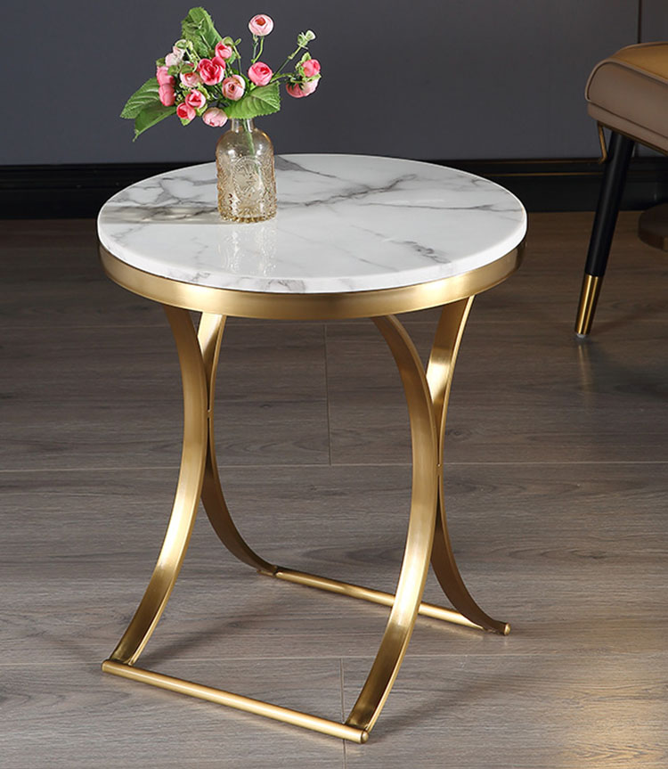 modern marble top side table sofa bed end table small round coffee table stainless steel gold plated frame