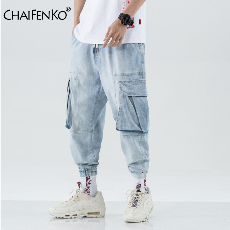 CHAIFENKO Men Multi-pocket Harem Hip Hop Pop Pants Trousers Streetwear Jeans Male Casual Fashion Cargo Pants Men Jogger Jeans