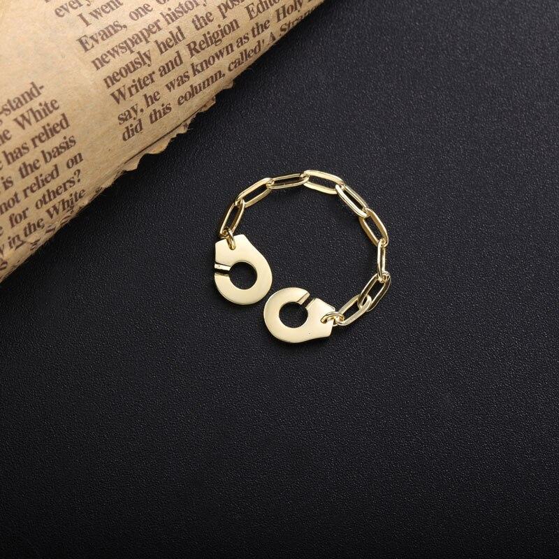 Moonmory 925 en argent Sterling Menottes anneau blanc trombone chaîne mode rencontres bijoux Couple anneaux cadeaux de noël Menottes 2