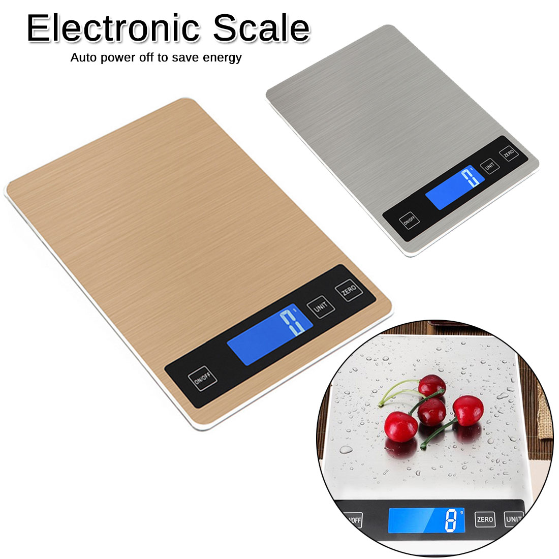 Digital Food Scale 5/10/15kg Electronic Kitchen Household Scale Stainless Steel Weighing Scale LCD High Precision Measuring Tool
