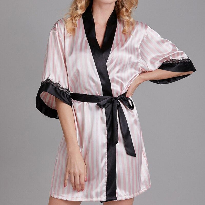 Women Sleepwear Sets Sexy Lace Pink Stripe Night Dress Robe Luxury Satin Silk Plus Size Lingerie Underwear Lace-Up Brand Design
