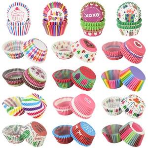 100 шт. бумажные чашки для кексов, вечерние лайнеры для кексов, держатель для кексов, вечерние украшения для детского душа, свадьбы, дня рожден...