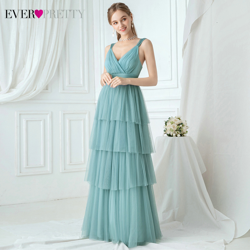Illusion Evening Dresses Ever Pretty A-Line V-Neck Layers Ruched Spagheti Straps Tulle Formal Party Gowns Vestidos Compridos