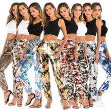 Women Nightclub Trousers Women Sparkle Metallic Maxi Ladies Silver High Waist Pants Club We