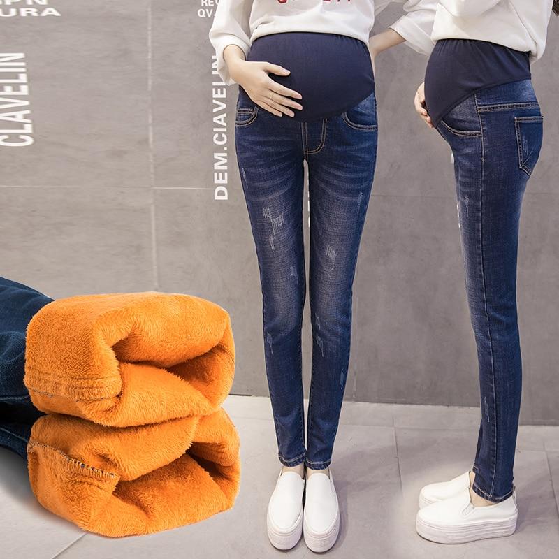 1610# Winter Thicken Warm Plus Velvet Denim Maternity Jeans High Waist Belly Pants Clothes for Pregnant Women Pregnancy Trousers