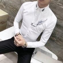 Fashion Shirt Embroidery Mens Dress Long-Sleeve Black White Social Masculina Camisa Party