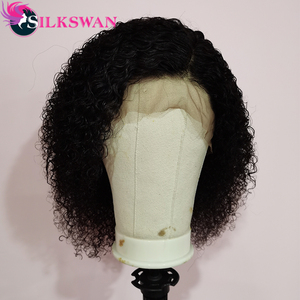 Silkswan Short Bob Jerry Curly Wigs 13x4 Lace Front Wigs 8/10/12/14/16 Inches Human Hair Wigs 150% Pixie Wigs(China)