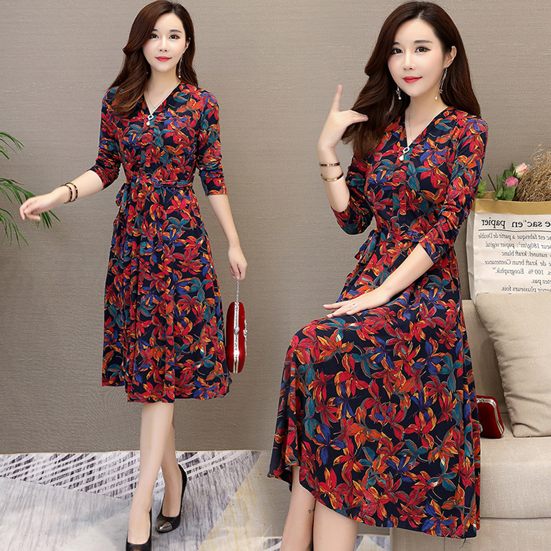 Hot Sales Fat Mm Large Size 2020 Spring WOMEN'S Dress New Products Fashion Skirt Korean-style Floral-Print Slimming Elegant Dres