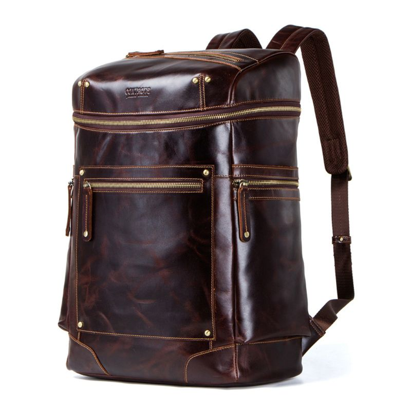 Vintage Genuine Leather Backpack School Laptop Travel Rucksack for Teenager