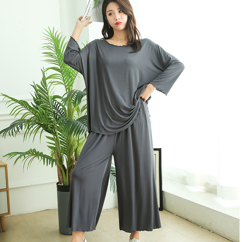 Plus Size Home Service Suit Female Autumn New Cotton Loose Long-Sleeved Pajamas Two-Piece Suit  Wide Leg Pants Leisure Clothes