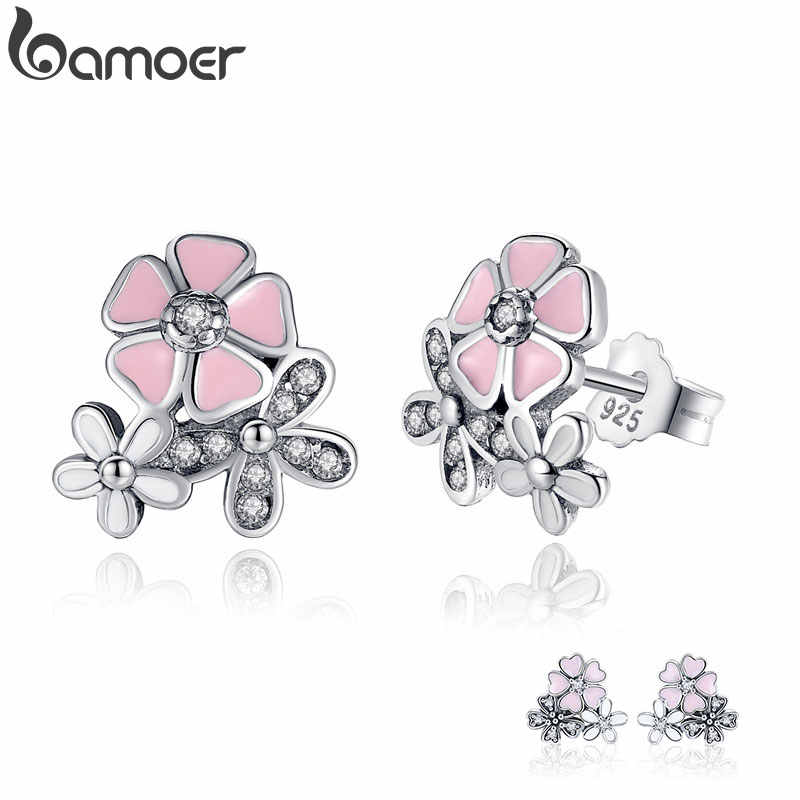 925 Sterling Silver Poetic Daisy Cherry Blossom Drop Earrings Mixed & Clear CZ Pink Flower Women ANNIVERSARY SALE 2018 PAS461