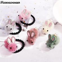 Newest Cute Rabbit Elastic Hair Bands Hairpin Gauze Cartoon Ears Clip Tie For Children Girls Accessories