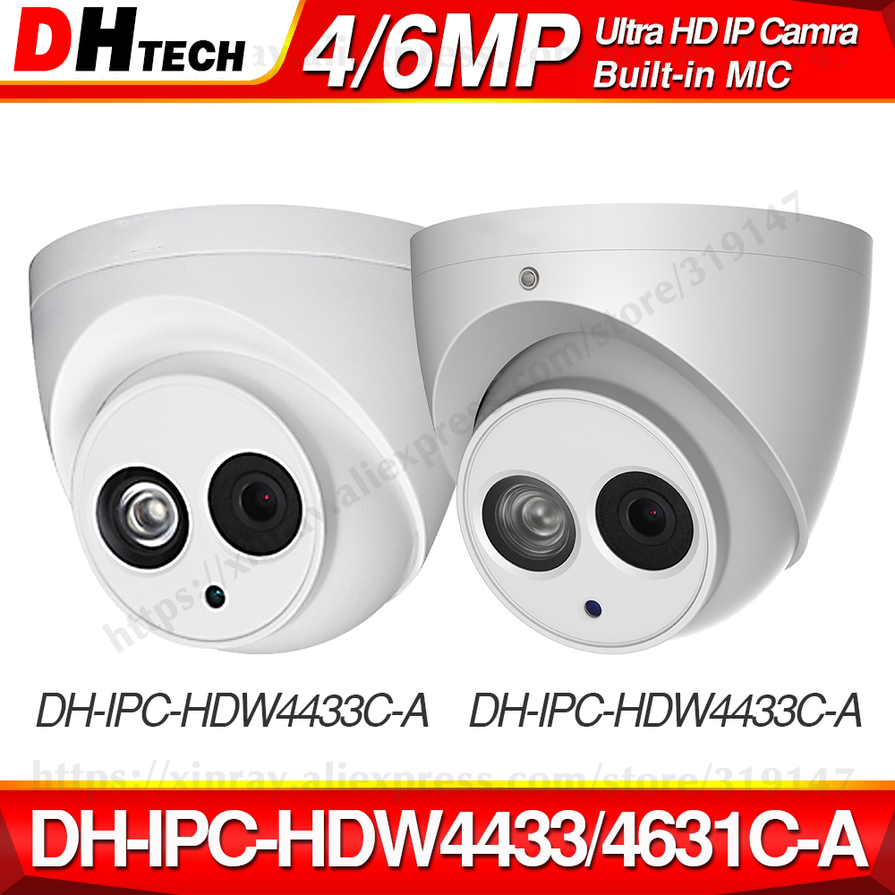 Dahua IPC-HDW4433C-A IPC-HDW4631C-A 4MP 6MP Network IP Camera 2.8mm Lens With Power POE CCTV Security Built-in MIC 30M IR H.265
