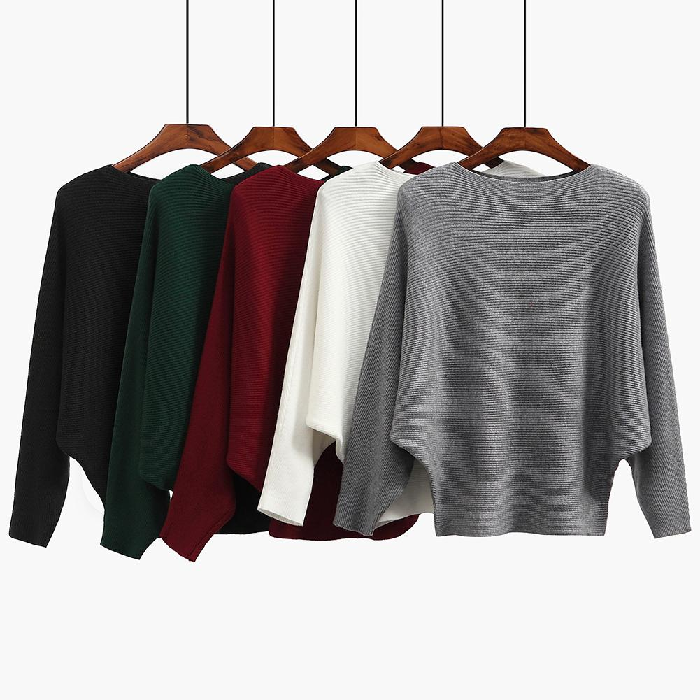 Women O Neck Long Warm Solid Pullovers Bat sleeve Sexy Sweater 2020 Autumn Winter Casual Sweater Female  Ribbed Loose Knitted S