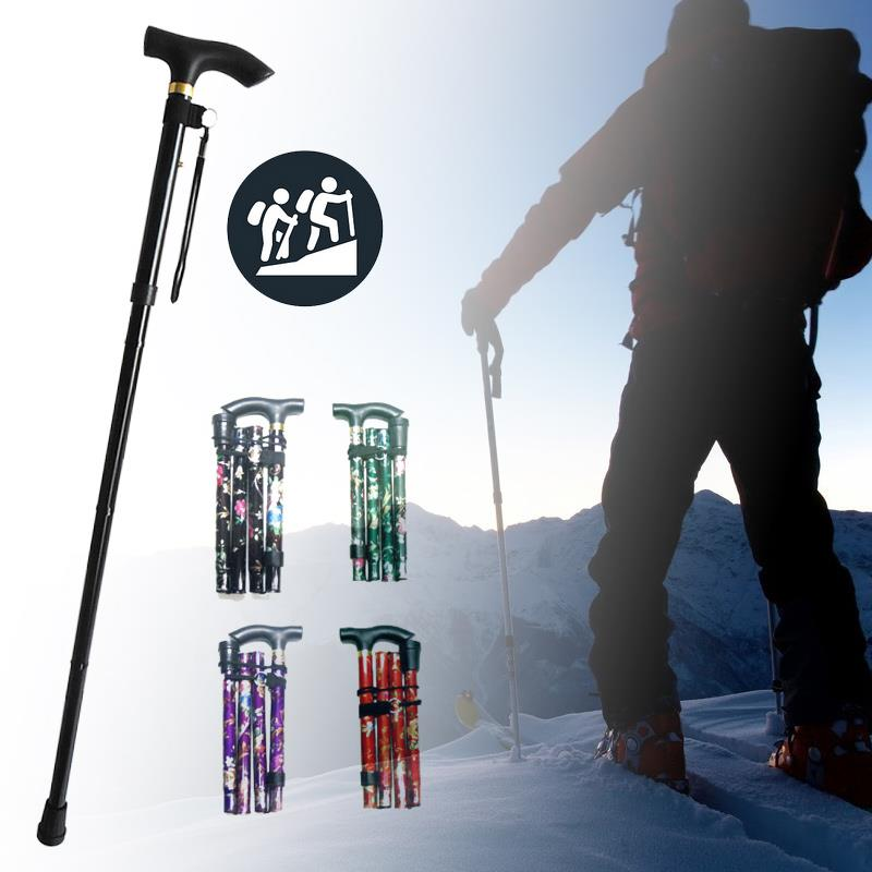 Trekking Pole Walking Stick Outdoor Sport Hiking Trip Elderly Retractable Cane Holiday Necessities Camp Mountaineering Travel|Walking Sticks| |  - title=