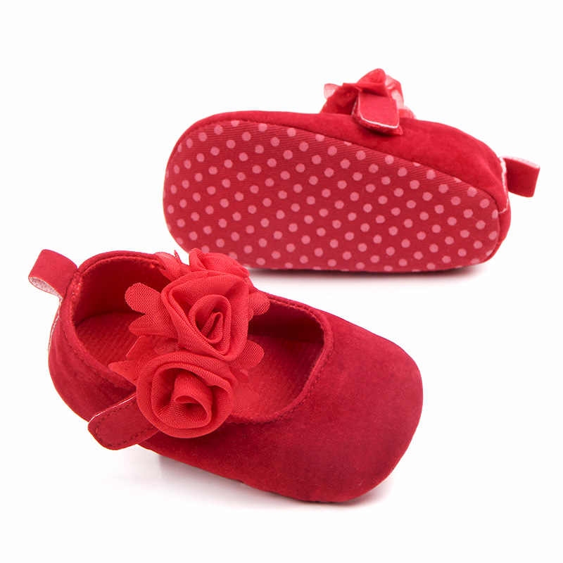 Nieuwe Rose Bloem Roze Prinses Pasgeboren Baby Meisje Schoenen Eerste Wandelaars Zachte Katoen Anti Slip Peuter Schoenen Effen Kleur Baby schoenen