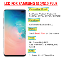 Amoled LCD with Small Spot For SAMSUNG Galaxy S10 G973F G973FD Display S10+ Plus G975F G975FD +Touch Screen Digitizer Assembly
