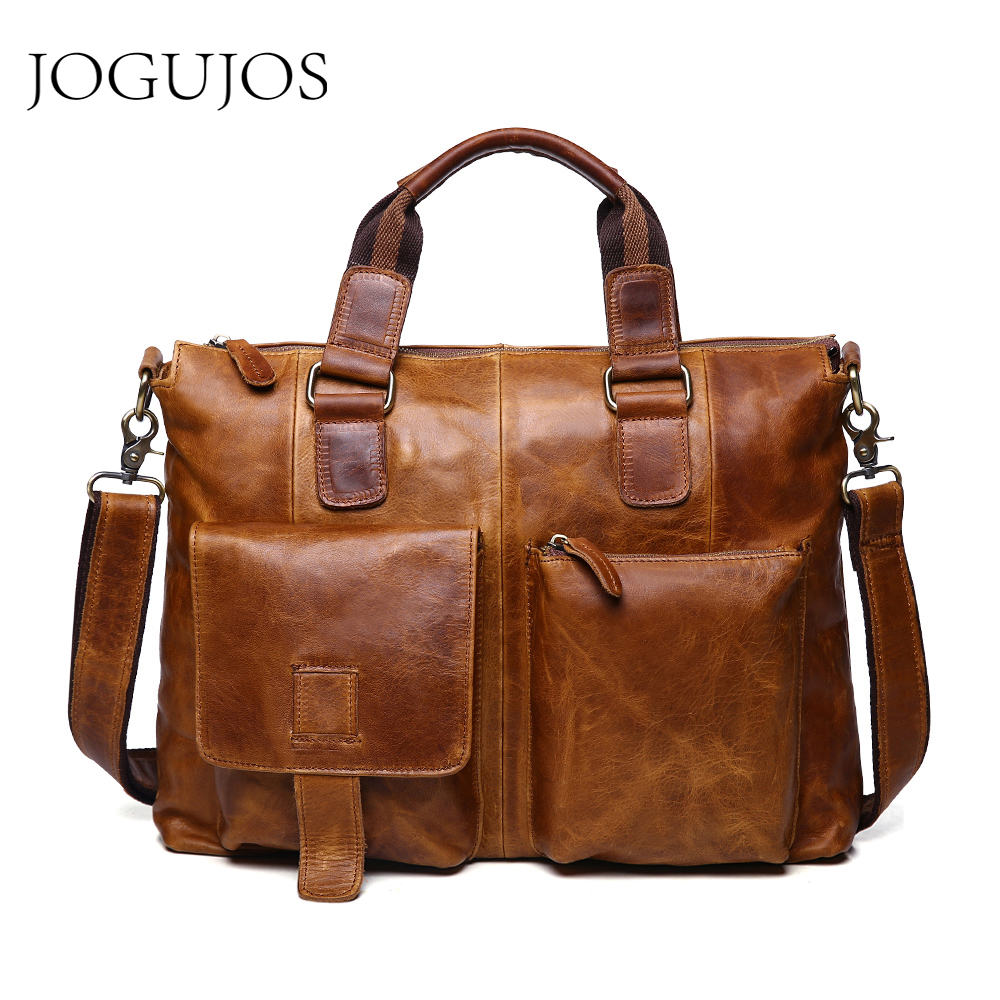 JOGUJOS Genuine Leather Crazy Horse Man Briefcase Luxury Designer Men's Briefcases Business Shoulder Messenger Bag Travel Bag