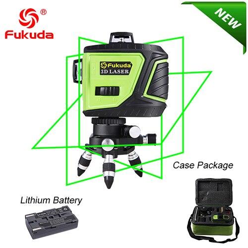 Fukuda бренд 12 линий 3D MW93T-3GX лазерный уровень самонивелирующийся 360 горизонтальный и вертикальный крест супер мощный зеленый лазерный луч - Цвет: 93T-Green-3GJ