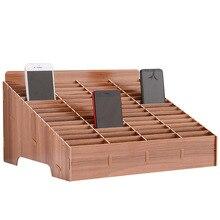 12/24/30/45 siatka multi grid drewniany telefon do przechowywania telefonu uchwyt skrzynki kreatywny Organizer na biurko Office Home Save Space artefakt