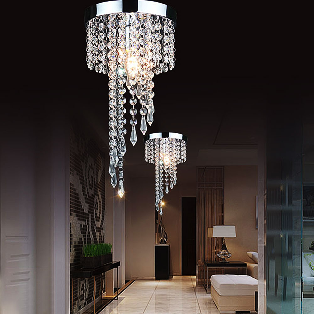 Modern Chrome LED Crystal Chandelier Lighting Fixture Pendant Ceiling Lamp Crystals Energy Saving Lampadario Lampadari Avizeler