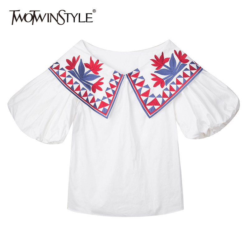 TWOTWINSTYLE Casual Embroidery Women Shirt V Neck Lantern Half Loose Hit Color Vintage Blouse For Female Fashion Clothing Tide