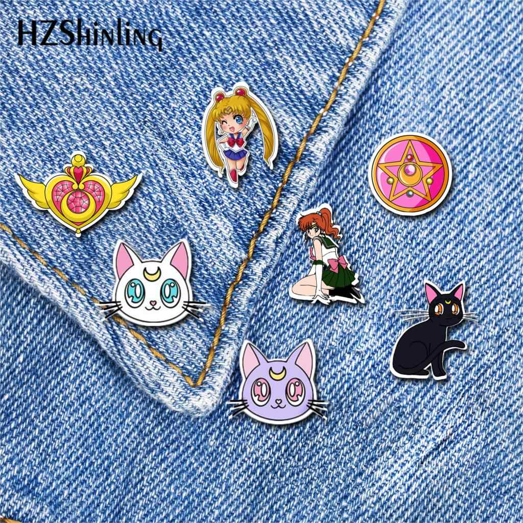2019 Baru Sailor Moon Akrilik Kerah Pin Super Sailor Moon Pin Bros Epoxy Broochs Hadiah Gadis