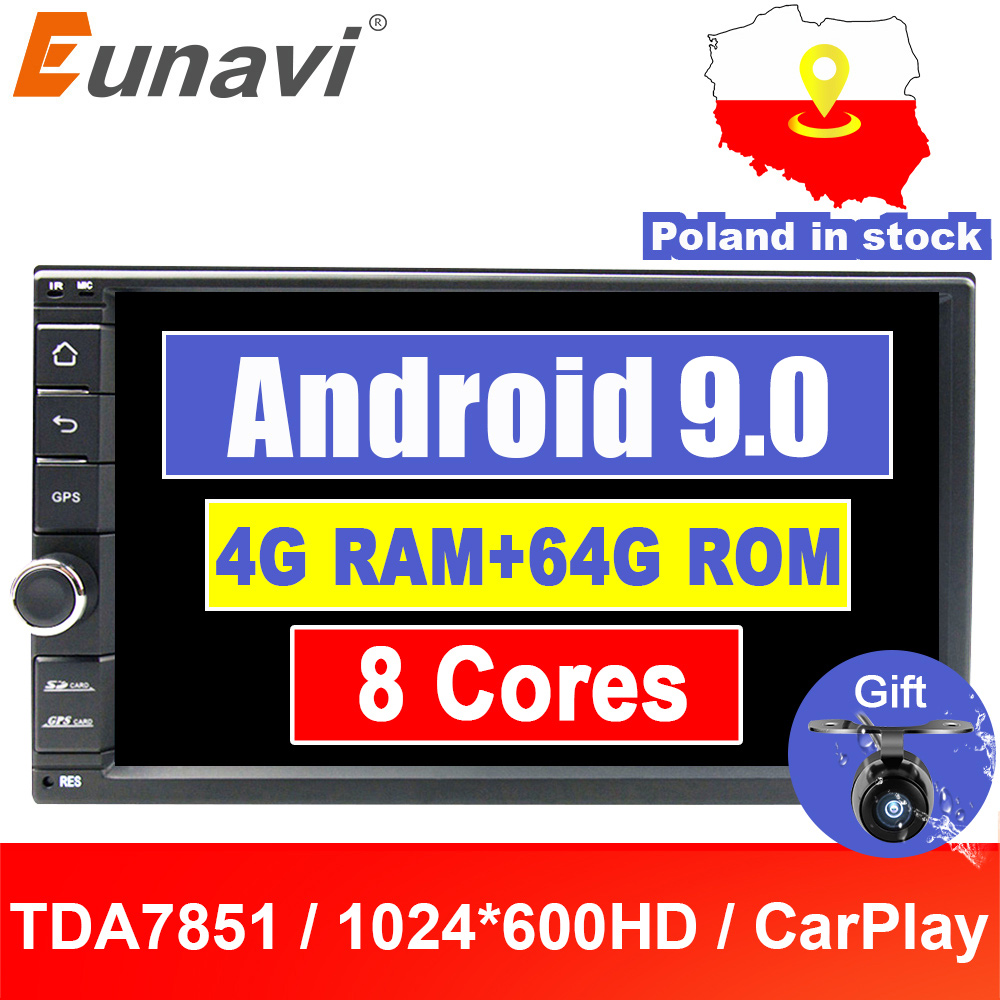 Eunavi Universal 2 Din 8 Core Android 9.0 Car Radio Stereo Multimedia Player WIFI 2din 7 Inch GPS Navigation SWC TDA7851 NO DVD