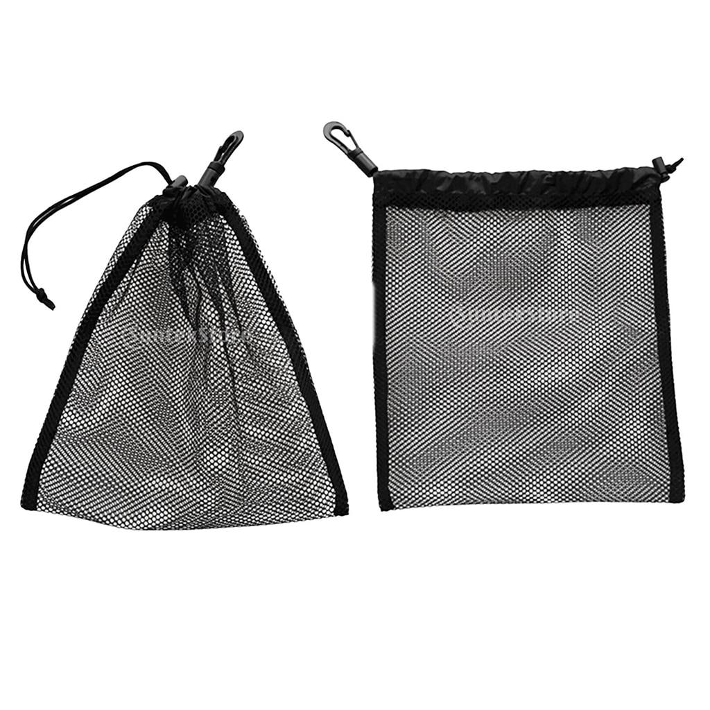 7.9 X 9.4 Inch Drawstring Mesh Gear Bag For Golf Tennis And Scuba Diving Black