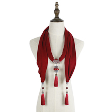 Jzhifiyer women alloy pendant scarf necklace Wrap Jewelry feminina fashion cotton scarves shawl long