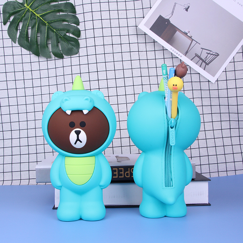 Cute Cartoon Dinosuar Bear Silicone Pencil Case Cosmetic Bag Pen Box For Girls Gift Stationery Pouch School Office Supplies