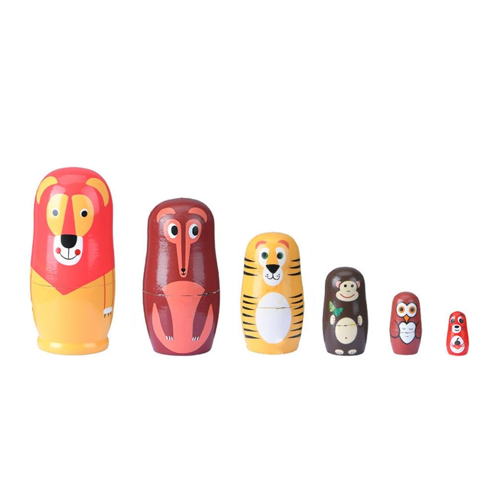 Muñecas de madera Matryoshka de 6 capas para niños, zorro hecho a mano, dibujos animados, decoración de muñecas rusas, manualidad para regalo, juguetes para educación temprana