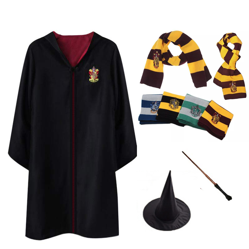 Costumes Robe Cape Scarf Wand Potter Gryffindor Cosplay Ravenclaw Hufflepuff Slytherin Potter Robe Cloak