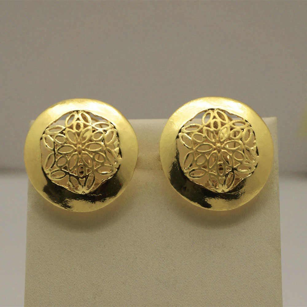 Dubai Gold Schmuck Sets Frauen Mode Big Anhänger Halskette Ohrringe Ring Armband Afrikanische Hochzeit Schmuck-Set
