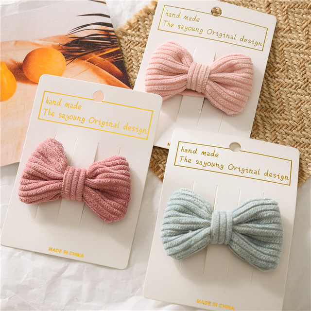 Japanese Korean Childrens Candy Color Hair Clip Cute Bow Girl Baby Knot Bb Clip Hair Clip Accessories Hair Pins Baby