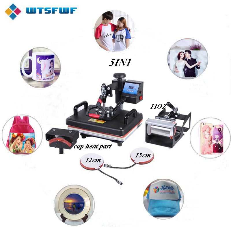 Freeshipping Wtsfwf 30*38CM 5 In 1 Combo Heat Press Printer 2D Sublimation Vacuum Heat Press Printer For T-shirts Cap Mug Plates