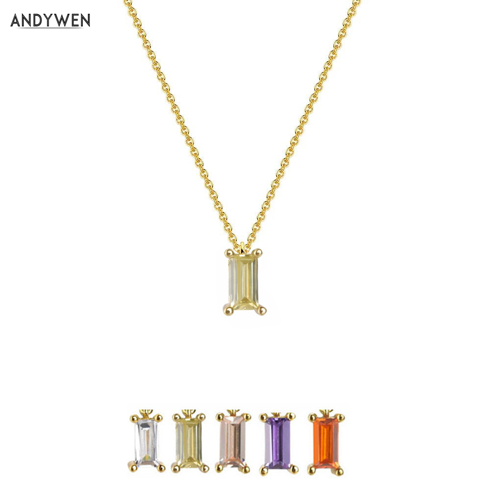 ANDYWEN 925 Sterling Silver Light Green Pendant Necklace Small Charms Women Luxury Crystal Women Luxury Jewellry For Valentiens