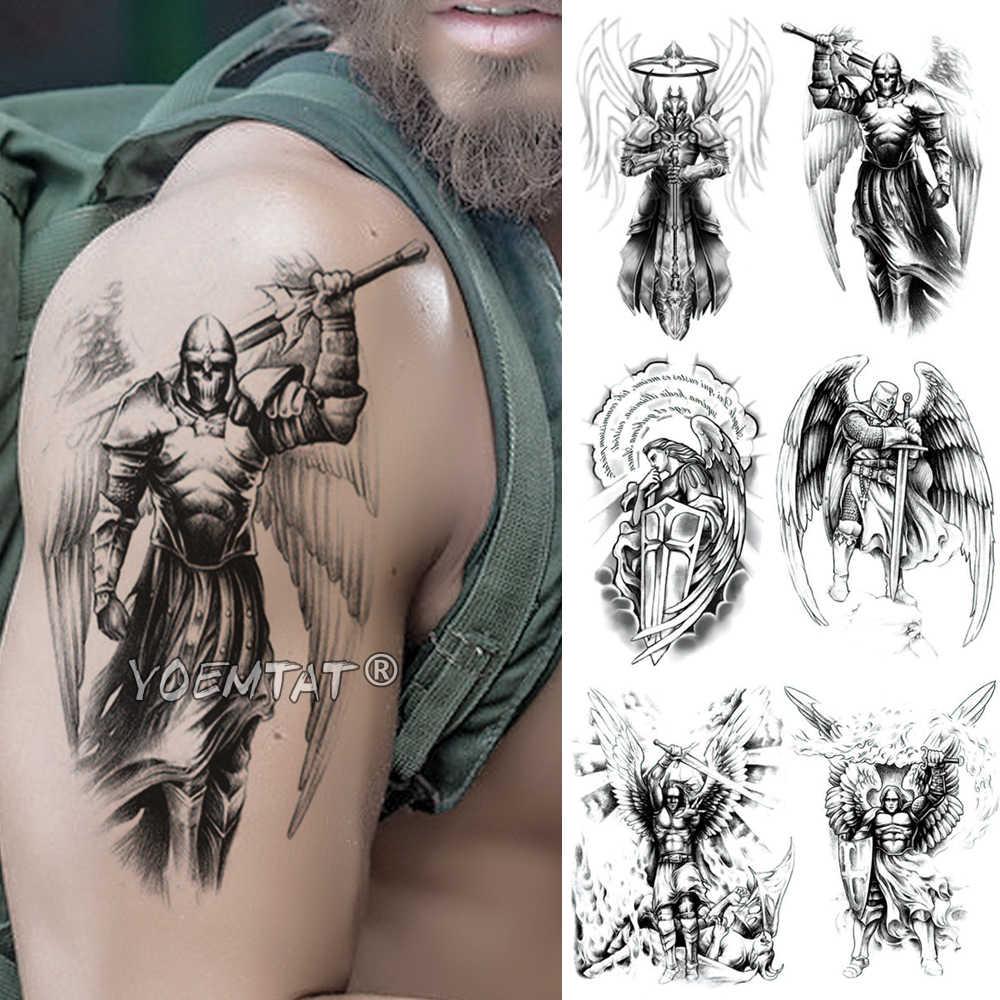 גולגולת ויקינג סמוראי לוחם זמני קעקוע מדבקת ארס מאדים עמיד למים Tatto גיבור כנפי גוף אמנות זרוע מזויף קעקוע גברים נשים