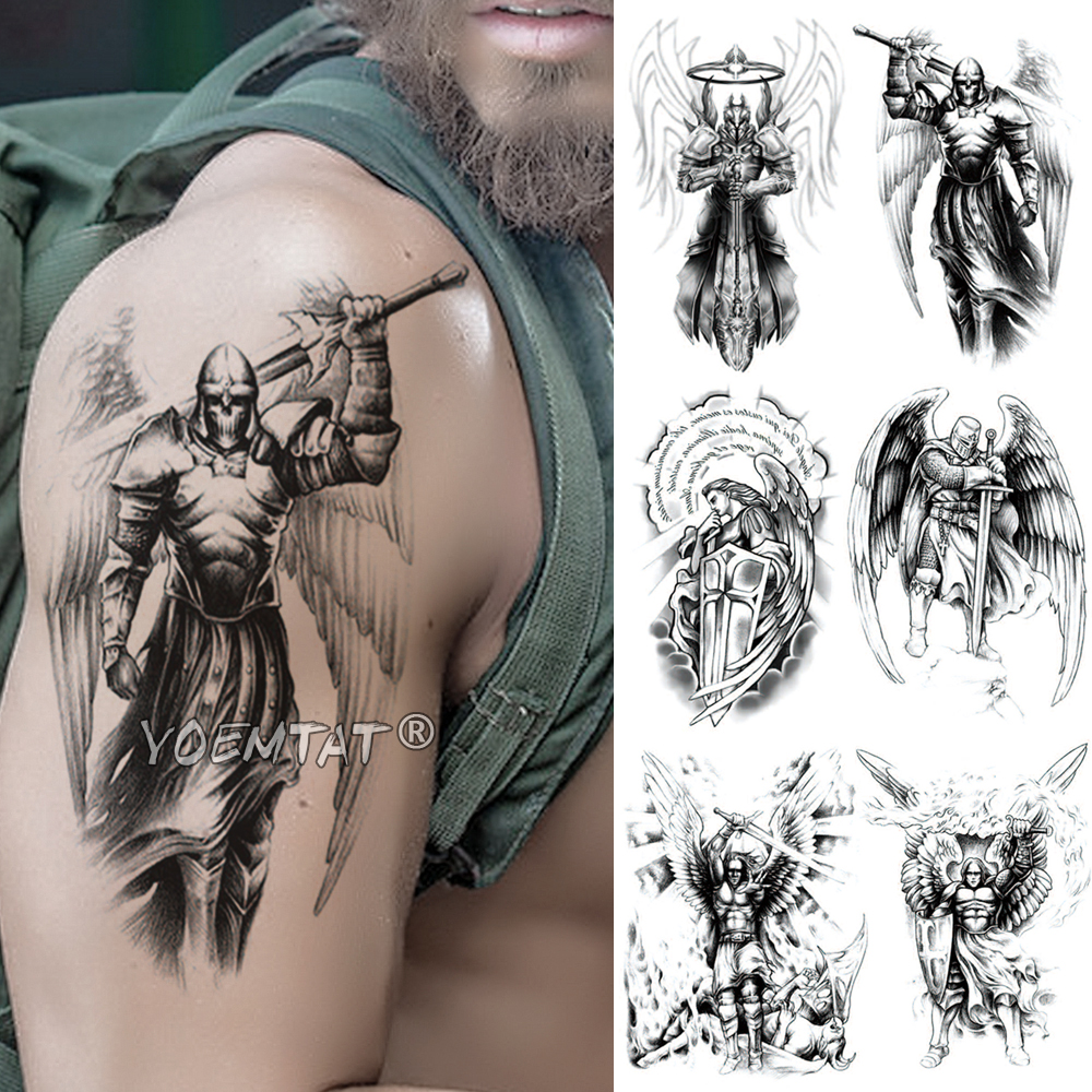 Skull Viking Samurai Warrior Temporary Tattoo Sticker Ares Mars Waterproof Tatto Hero Wings Body Art Arm Fake Tatoo Men Women