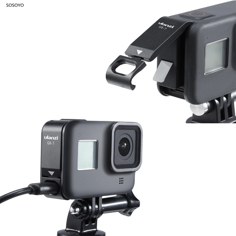 Metal Battery Cover Rechargeable Side Cover Lid Type-C Charging Port Adapter For Gopro Hero 8 Action Camera Accessories
