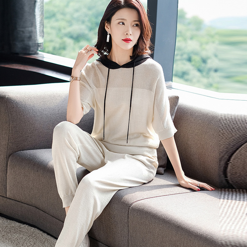 Casual Sports Viscose WOMEN'S Suit 2019 Spring And Summer Loose Harem Pants Summer Western Style By Age Knitted Two-Piece Set