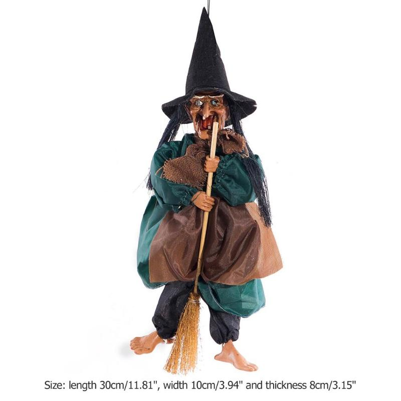 Hanger Horror Riding Broom Witch Figurine Sound Control and Touch Sensing Luminescence Halloween Decoration Hanging Ornaments in Party DIY Decorations from Home Garden