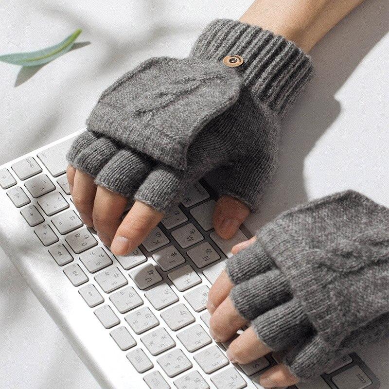 Перчатки с открытыми пальцами для мужчин и женщин, вязаные митенки с откидной крышкой, теплые уличные, для рук и запястья, 1 пара