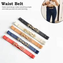 High elasticity fabric belts for women dresses gold flower metal buckle female fashion 2019 hot elastic