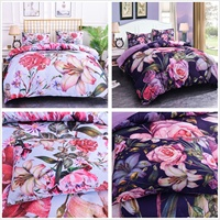 3D Floral Print Bedding Sets Pink Bedding Purple Duvet Cover Bed Comforter Covers Set Single/Twin/Full/Queen/King Size