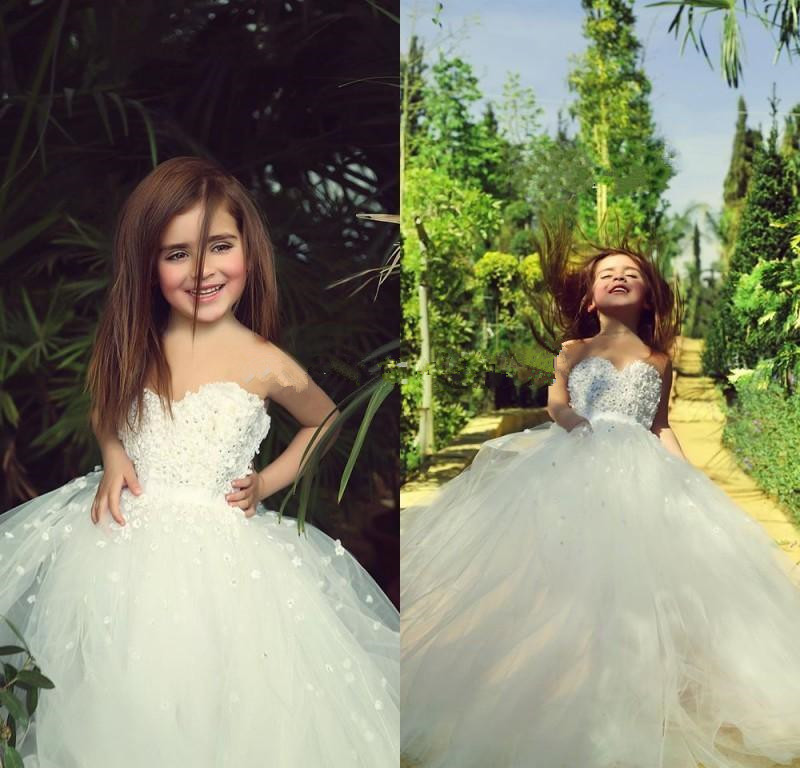 Lovely Ball Gown Sweetheart Flower Girls Dresses 2016 Flowers Appliques Long Gril's Dress For Weddings And Party