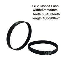 Зубчатый Конвейерный ремень gt2 с замкнутым циклом, ширина 6/9 мм, длина 160/166/170/172/180/186/188/190/192 мм